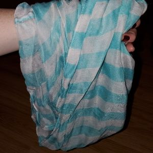 Lightweight blue and white infinity scarf